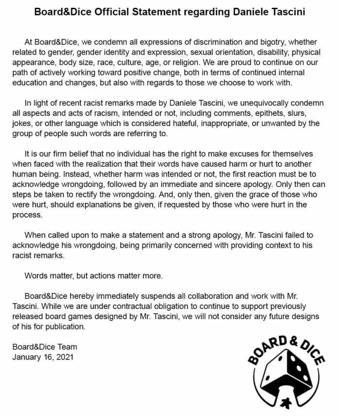 Board&Dice statement