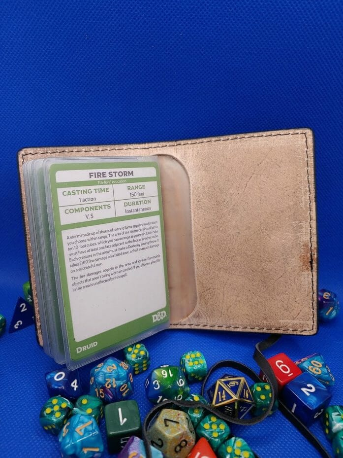Leather-bound D&D card spellbooks