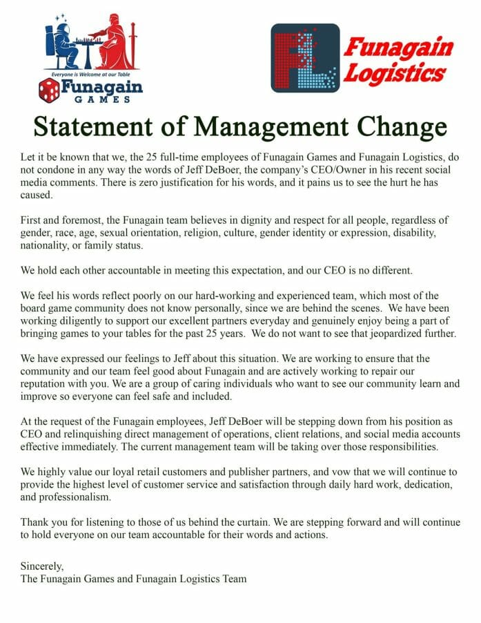 Statement of Management Changes at Funagain Games