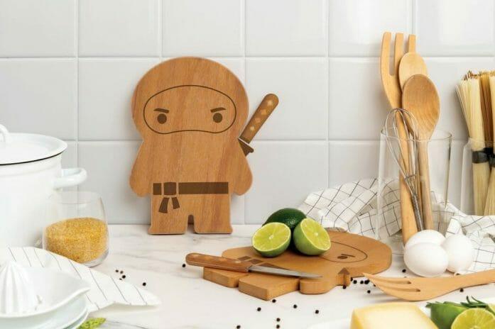 A ninja cutting board wearing a knife like a sword