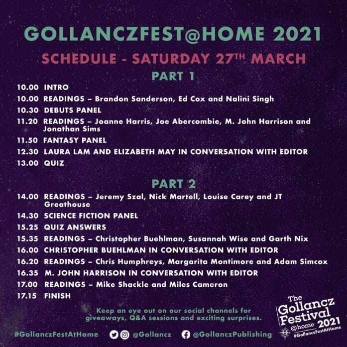 Gollancz@Home schedule