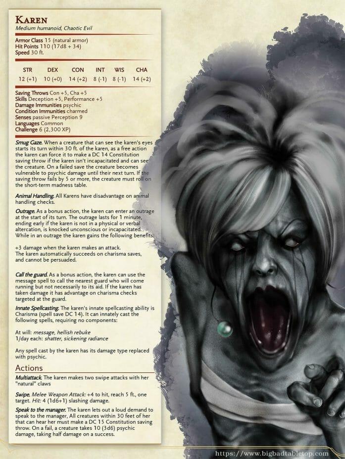 Karen; a D&D monster