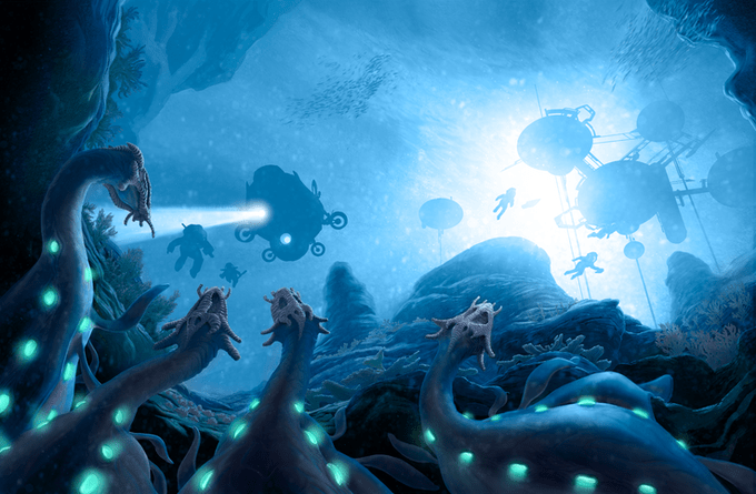 Blue Planet and the creatures below