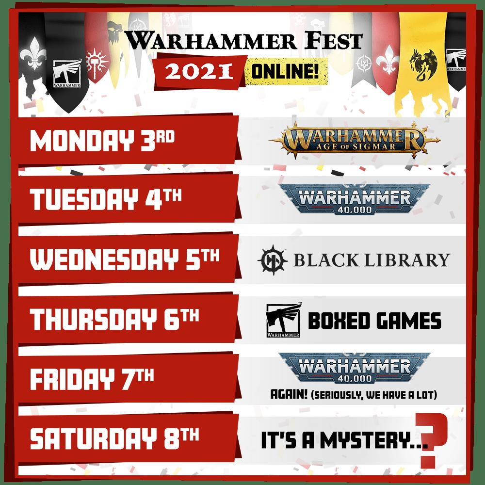 Warhammer Fest calendar
