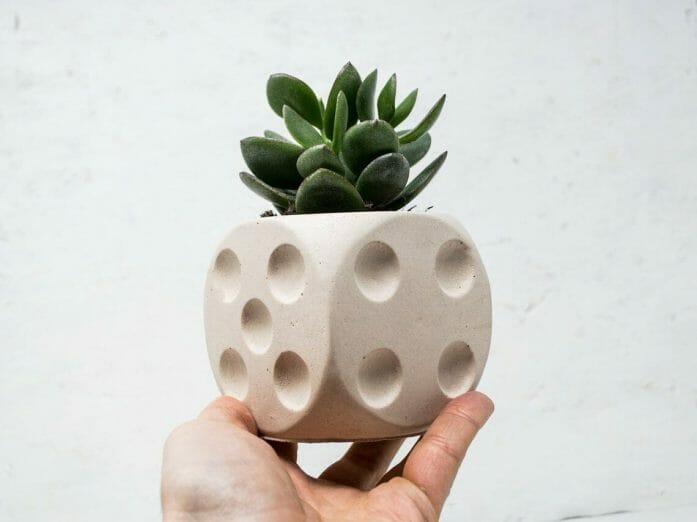Concrete Dice Plant Pot