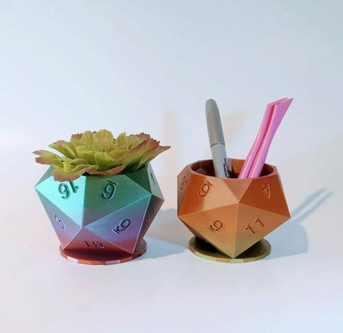3d-Printed d20 Plant Pots