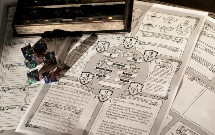 Medieval style D&D 5e character sheets
