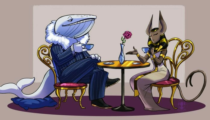 A Whale and a Cat Have a Tea Party by Zerna