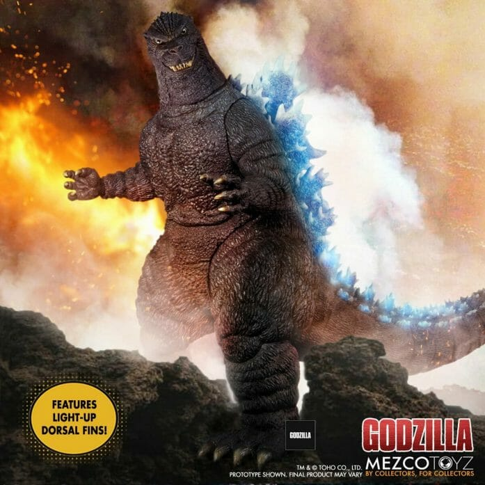 This towering Godzilla lights up with radioactive fire