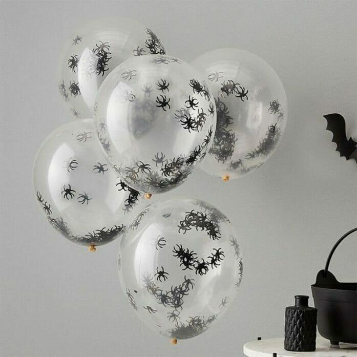 spider confetti balloons